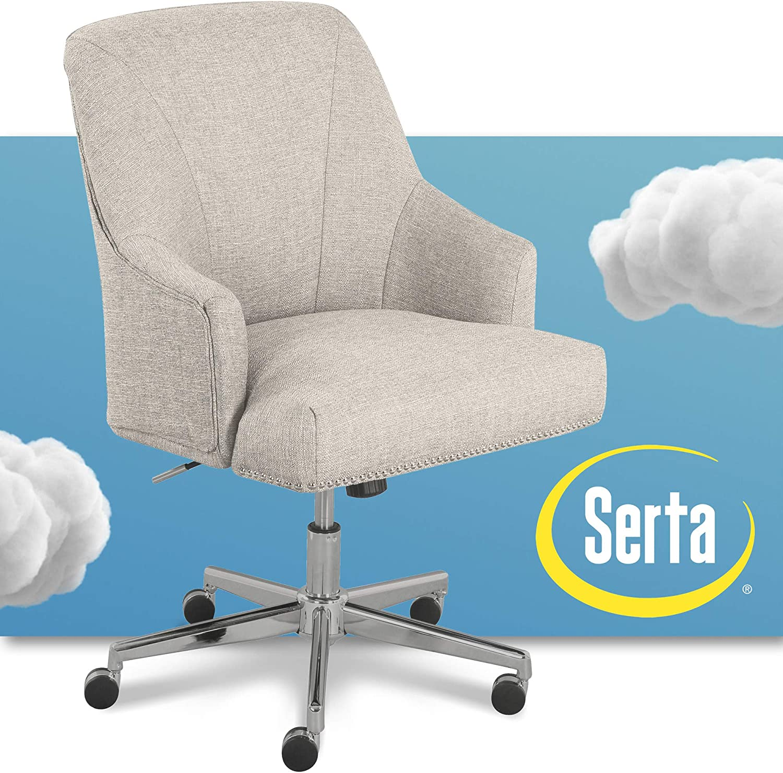 "Serta ""Leighton"" Home Office Chair, Lure Light Gray"