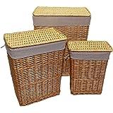 Homescapes set de 3 cestas rectangulares de mimbre color marrón para ropa sucia