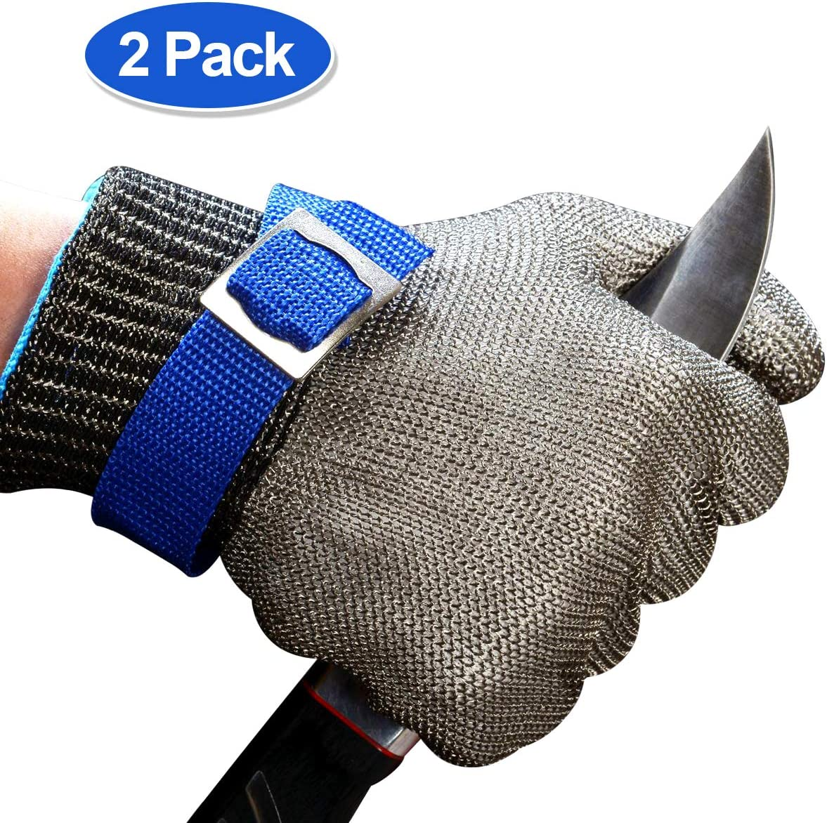 Schwer Cut Resistant Gloves Stainless Steel Wire Metal Mesh Butcher Safety Work Glove for Meat Cutting, fishing(Extra Large,2 pcs)