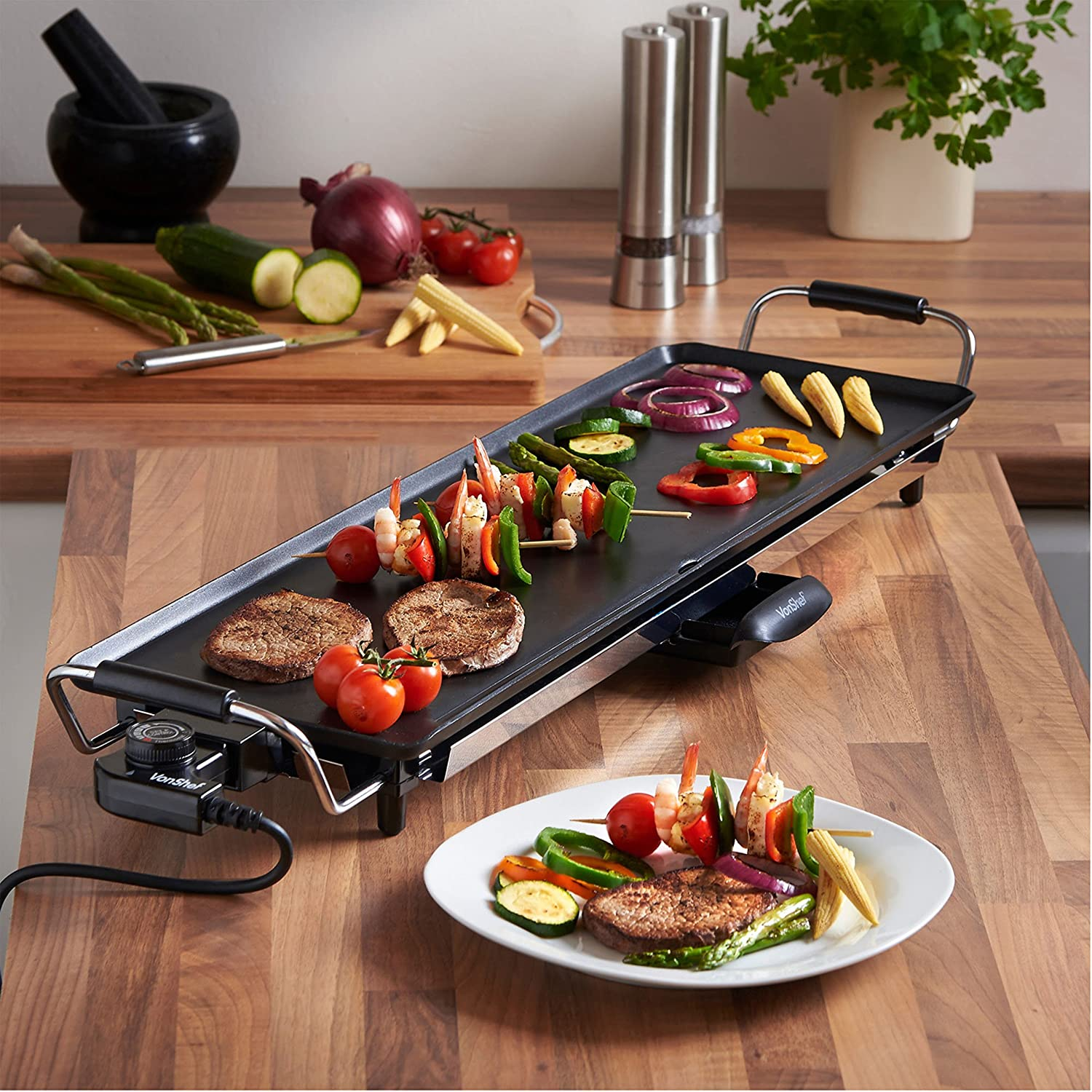Teppan Yaki vonshef electric xl teppanyaki style barbecue table grill griddle