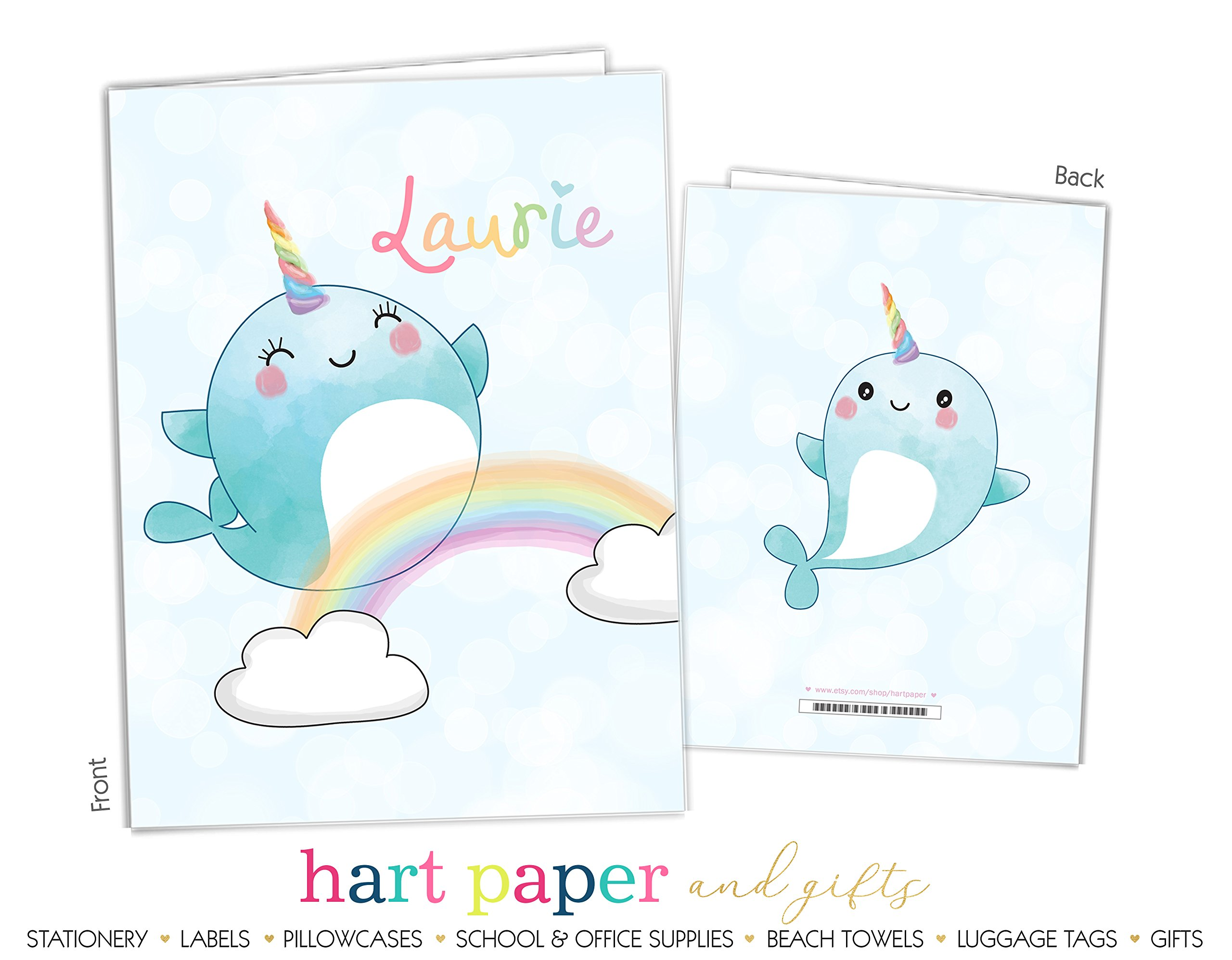 Rainbow Narwhal Sea Unicorn 2 Pocket Folder Gift Name Back to School Supplies Teacher Office Birthday Girl Boy Adult Kids Custom Personalized Custom