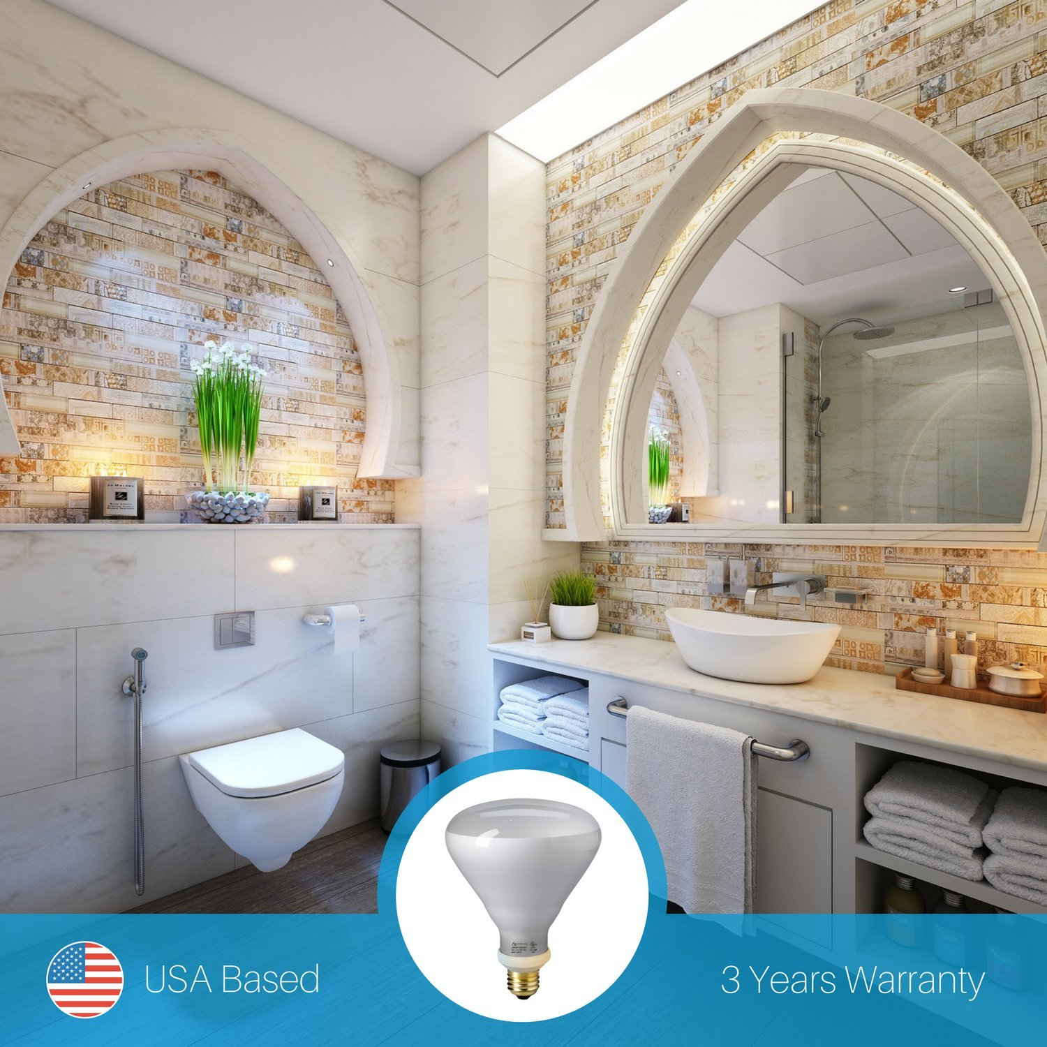 12W Warm White 1200 Lumens 100W Replacement Frosted Lens Archipelago BR40 LED Bulb Dimmable 1 Pack E26 Wide Flood Bulb 3000k