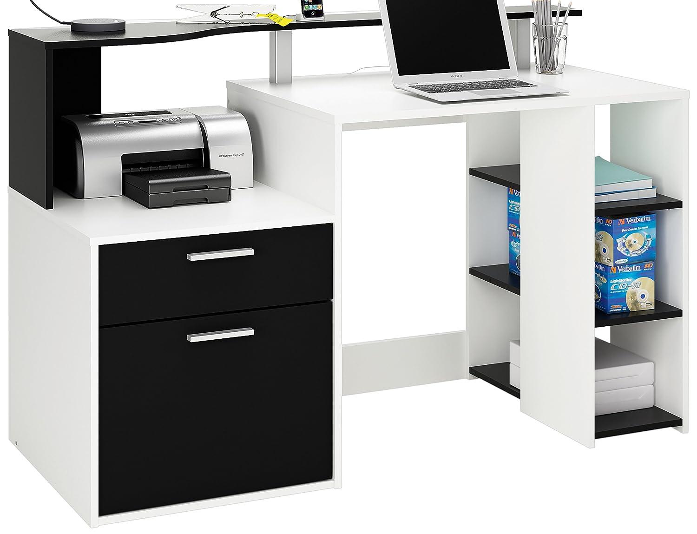 Demeyere 305889 Oracle MultiMedia avec 1 Porte-Tiroir Panneau de Particules Blanc-Noir 139 -8 x 55 -1 x 91 cm