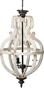 A&B Home Distressed White 4-Light Chandelier, Dimensions: 19.7L x 19.7W x 35.4H Inches