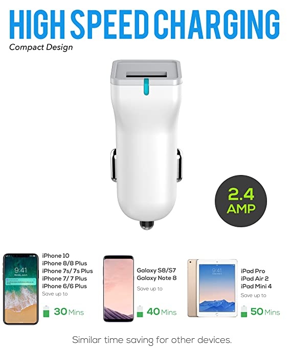 online store 473af f922f iPhone 8 Charger set, iPhone X / 8/8 Plus / 7 Plus / 7 / 6S / 6 Charger 5W  – 2.1 Amp Power adapter Apple MFi Certified Lightning to USB Cable Kit by  ...