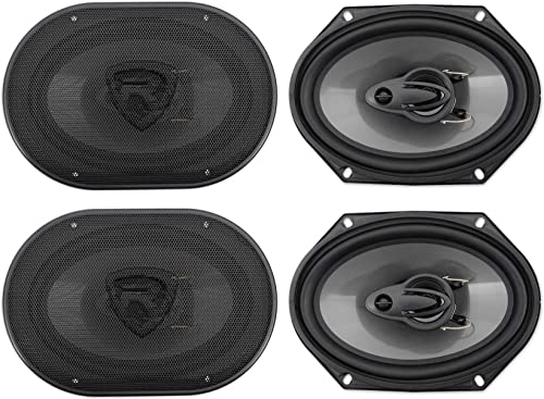 (4) Rockville RV68.3A 6x8 3-Way Car Speakers 1800 Watts