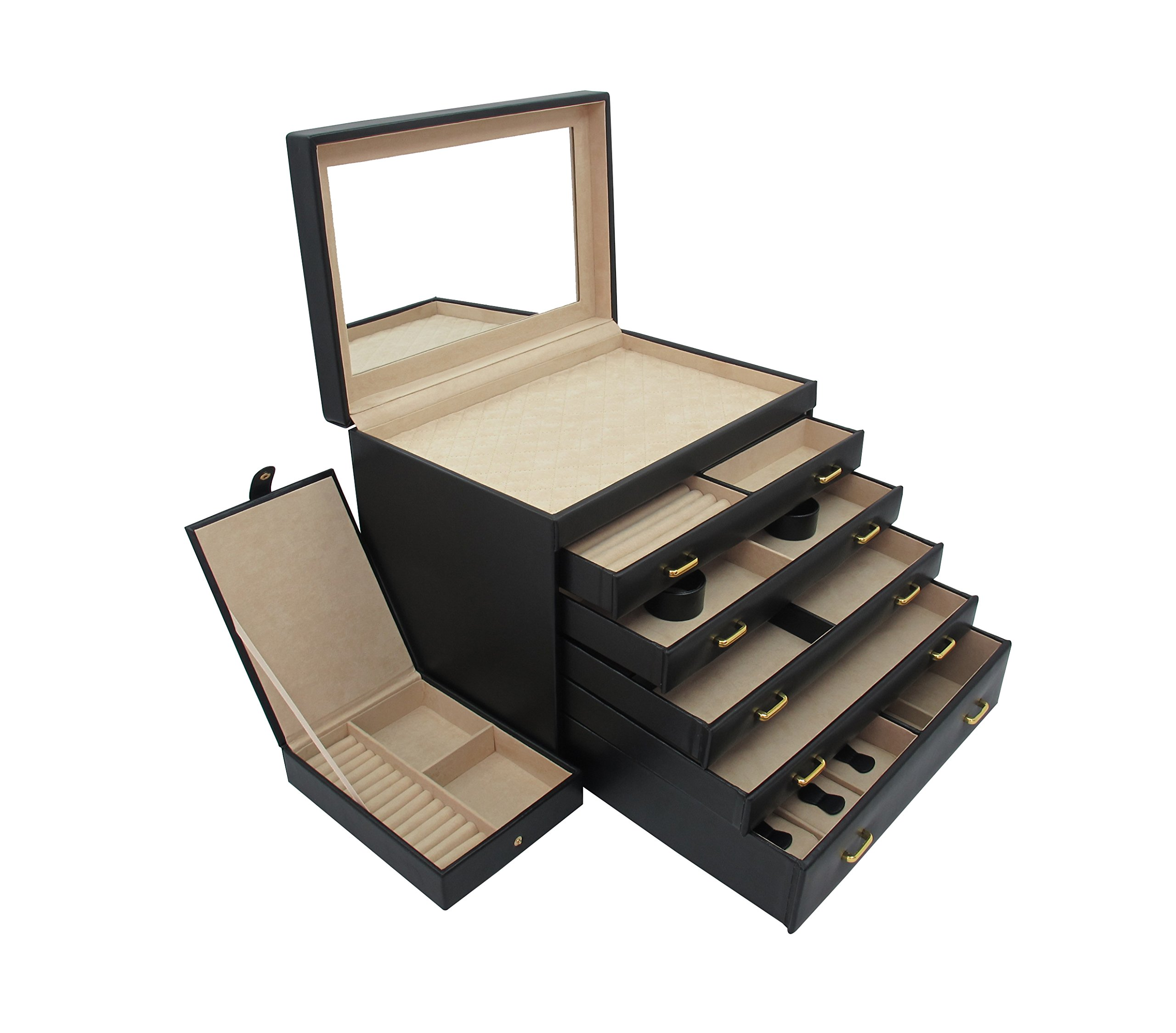 Cordays Extra Large Complete Jewelry Dresser Box Finely Handcrafted in Premium Quality Vegan Leather with 5 Drawers and Travel Case CDL-10026