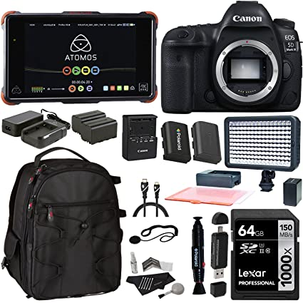 Canon EOS 5D Mark IV DSLR Camera Body, Atomos Ninja Flame with Power Pack, Lexar 64GB, Spare Battery, LED Light, Camera Backpack, Card Reader and ...