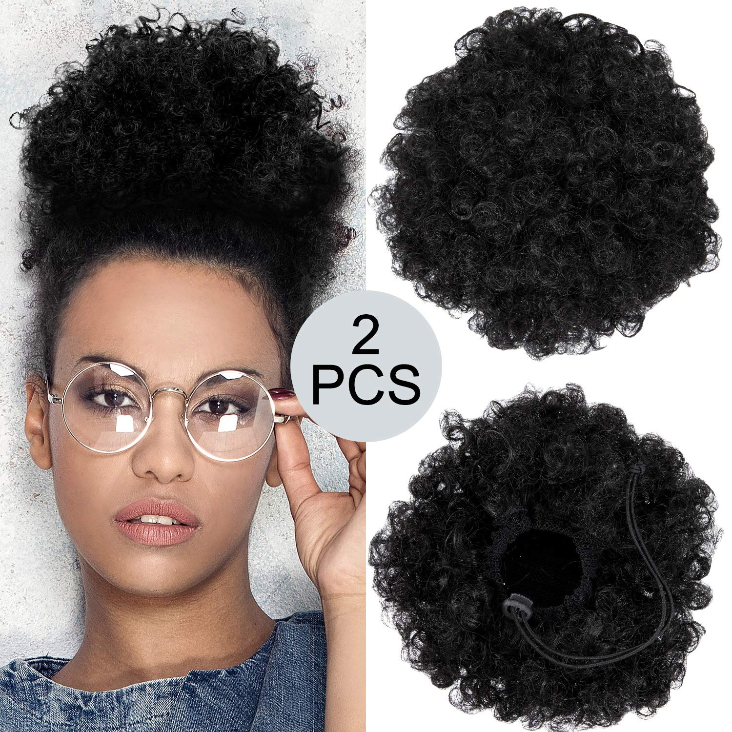 2 Pieces Afro Puff Drawstring Ponytail Synthetic Short Curly Hair Afro Bun Extension Afro Chignon Hairpieces Wig Updo Hair Extensions (Black-1b) by WILLBOND