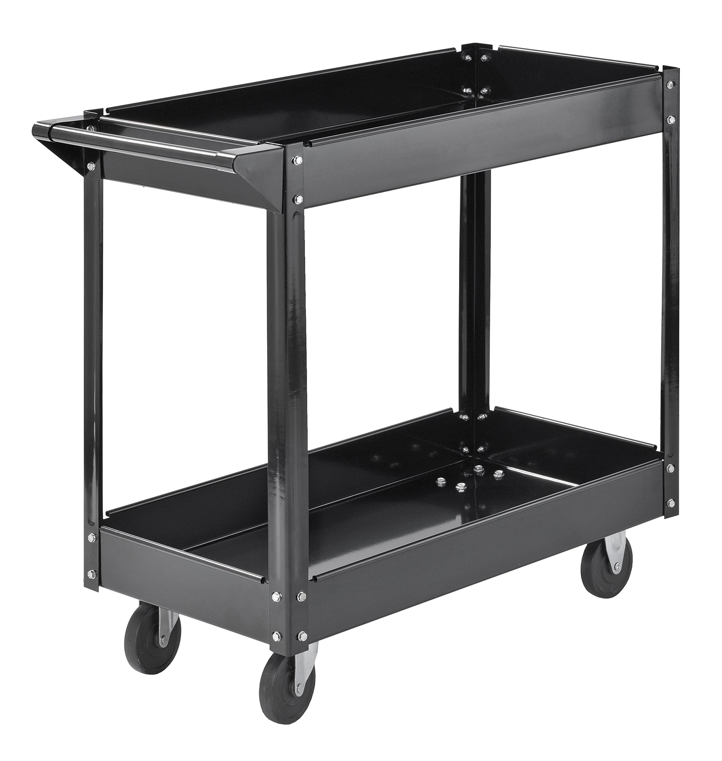 Muscle Rack SC3016 Industrial Black Commercial Service Cart, Steel, 220Lbs Capacity, 33'' Width x 30.5'' Height x 16'' Depth, 2 Shelves, 30.5'' Height, 33'' Width, 16'' Length by Muscle Rack (Image #4)