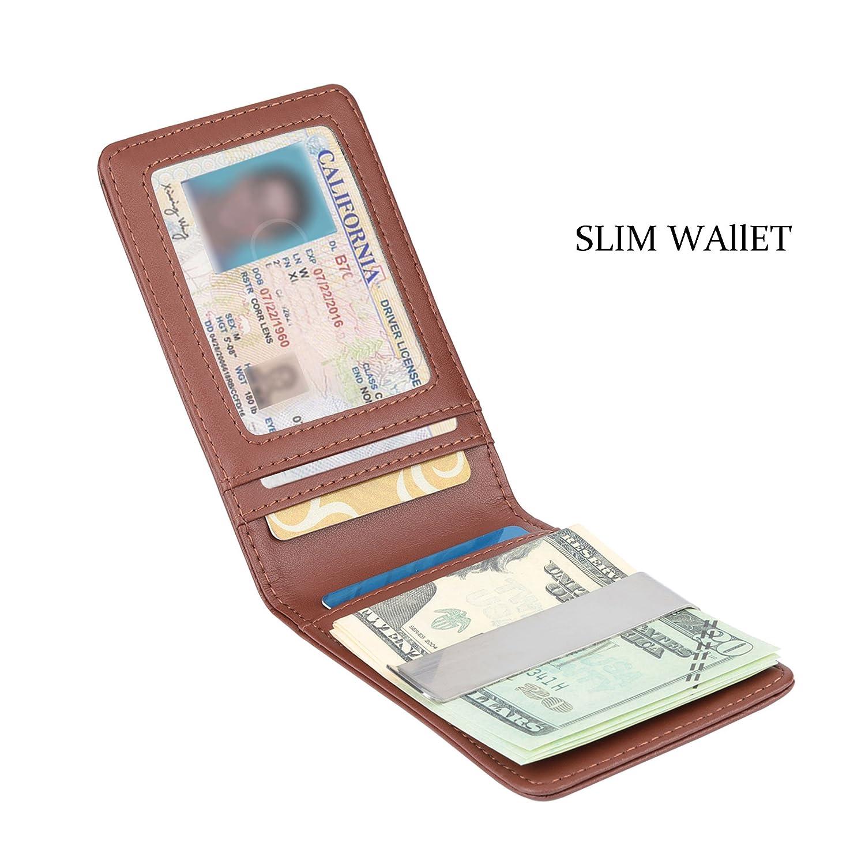 YOOMALL Leather Money Clip Wallet for Men RFID Blocking Minimalist Card Holder Slim Front Pocket Wallets