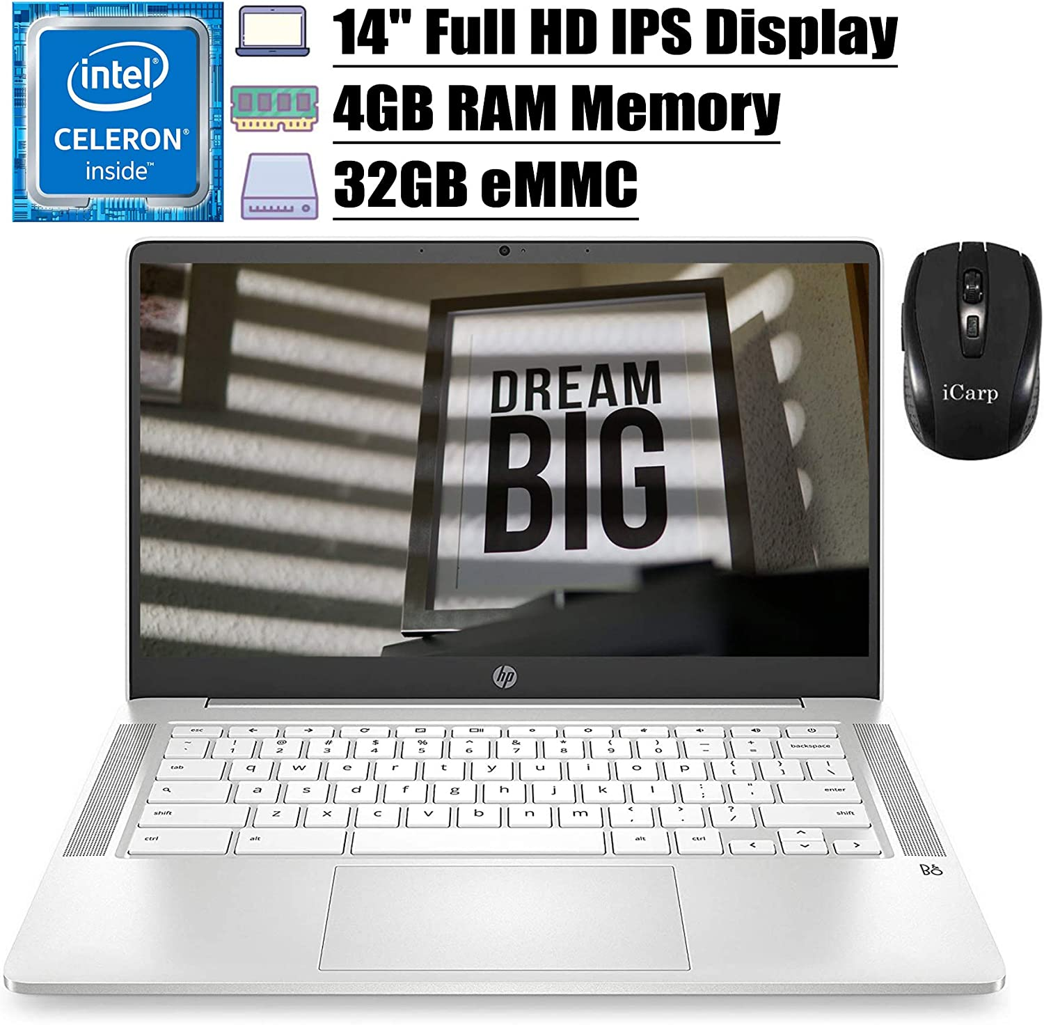 "2020 Flagship HP Chromebook 14 Laptop Computer 14"" FHD IPS Display Intel Celeron N4000 4GB RAM 32GB eMMC Intel UHD Graphics 600 B&O Webcam WiFi Backlit Chrome OS (White)+ iCarp Wireless Mouse"