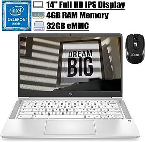 "2020 Flagship HP Chromebook14 Laptop Computer 14""FHD IPS Display Intel Celeron N4000 4GB RAM 32GB eMMC Intel UHD Graphics 600 B&O Webcam WiFi Backlit Chrome OS (White)+ iCarp Wireless Mouse"