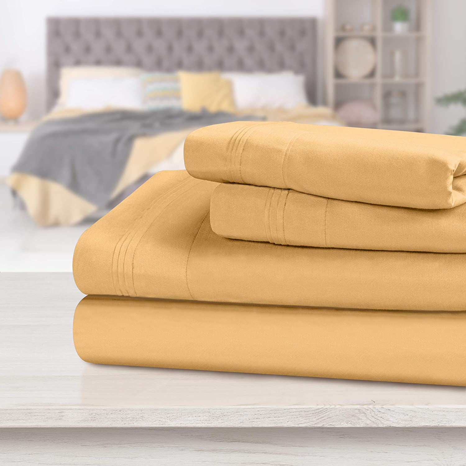 SUPERIOR Egyptian Cotton Solid Bed Sheet Set, King, Gold, 4-Pieces