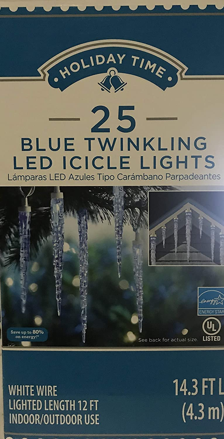 Holiday Times Icicle Twinkling Blue Led Lights 25 Ct White Wired 12 Ft Indoor Outdoor Use String Lights