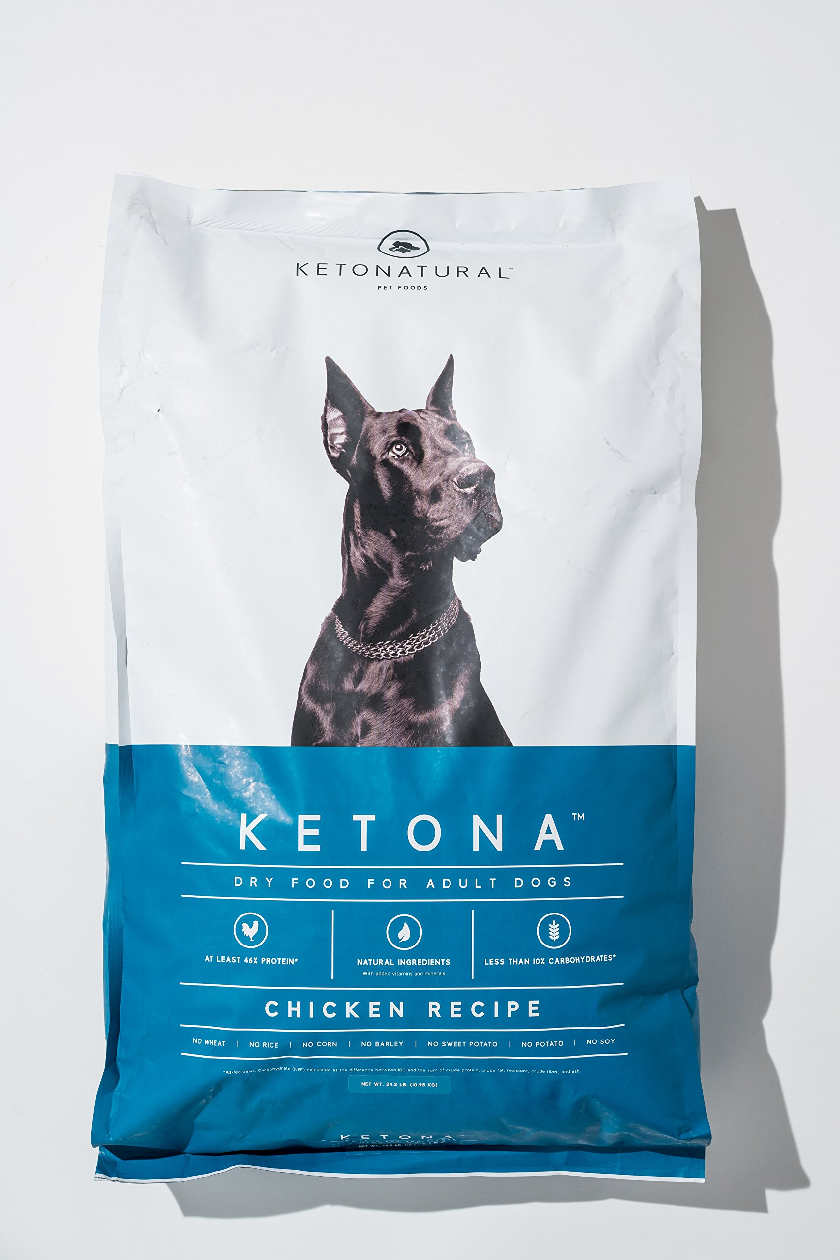Ketona Chicken Recipe Dry Food For Adult Dogs -- Low Carb, High Protein, Grain-Free Dog Food (24.2 lb) by Ketona