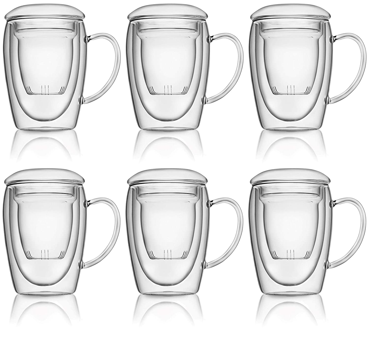 Double Wall Glass Mugs with Infusers Schott Zwiesel Suitable for Both Hot and Cold Beverages Set of 6 Hand Borosilicate Glass Mugs and Infusers 28 cl