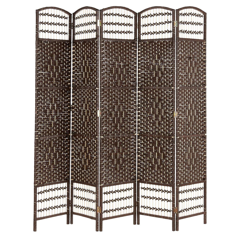 Hartleys Dark Brown 5 Panel Hand Made Wicker Room Divider