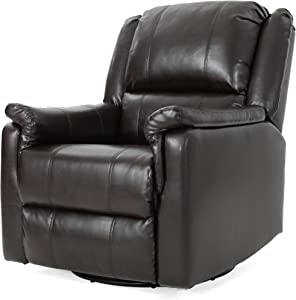 Christopher Knight Home Jennette Tufted Leather Swivel Gliding Recliner, Brown / Black