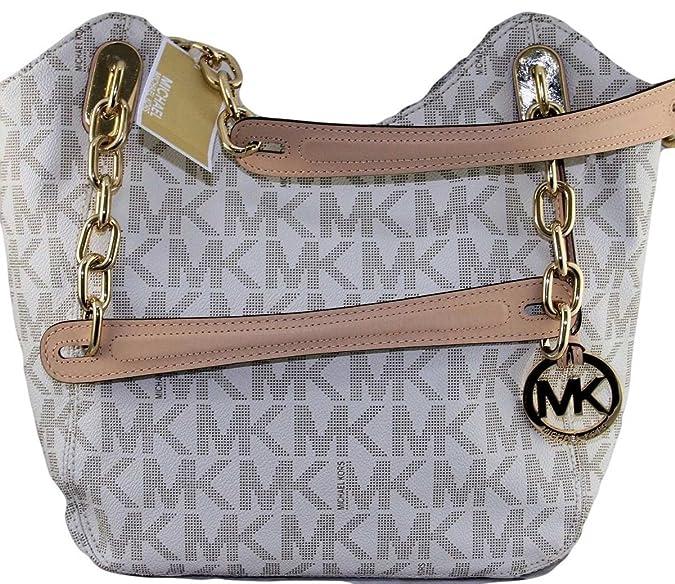 e2fbbdfa51b3 Michael Kors MD Lilly PVC Vanilla Off White MK Signature Chain Tote Handbag  Medium  Handbags  Amazon.com