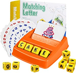 Cokoka Matching Letter Game with 12 Letter Cubes, Letter Recognizing Word Spelling Game Toys for Kids Age 3-8 - Best Preschool Educational Toys