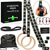 """awegym Gymnastic Rings with Adjustable Straps, 1.1"""" Olympic Rings, Calisthenics Rings Exercise Equipment, Gym Rings for Full"""