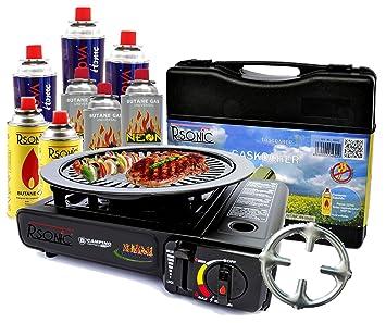 Estufa De Gas Camping Cocina con 8 Gas kar aplicar el rimel Portátil + Accesorio de parrilla Bandeja del grill + Maleta - Negro