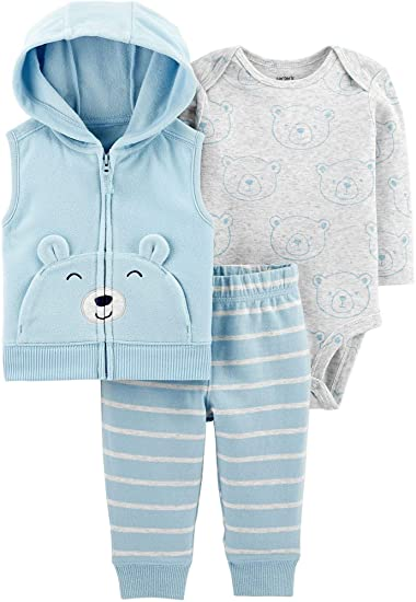Carter's Baby Boys' Vest Sets (Newborn, Baby Blue Bear)