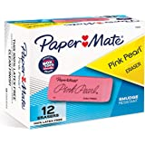 Paper Mate Pink Pearl Erasers, Large, 12 Count