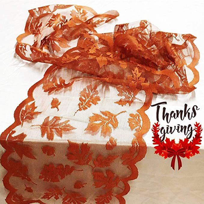 Fall Table Runner Thanksgiving Decorations 13 x 72 Inch Maple Leaves Table Runner Harvest Lace Pumpkin Runner Brow Long Fall Table Line for Thanksgiving Dinner (Brown)