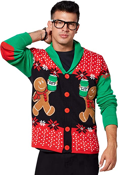 Spencer Gifts Angry Gingerbread Ugly Christmas Sweater Cardigan