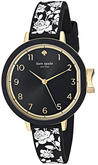 kate spade new york Women's Park Row Analog-Quartz Watch with Silicone Strap, Black, 12 (Model: KSW1476)