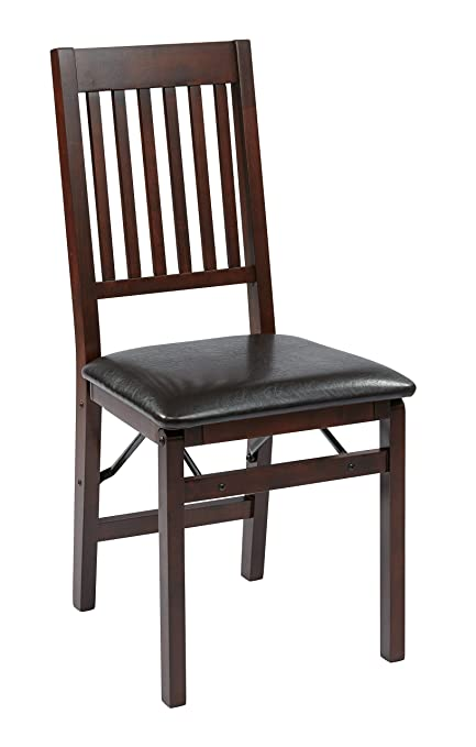 OSP Designs Office Star Hacienda Wood And Veneer Folding Chair With Padded  Faux Leather Seat,