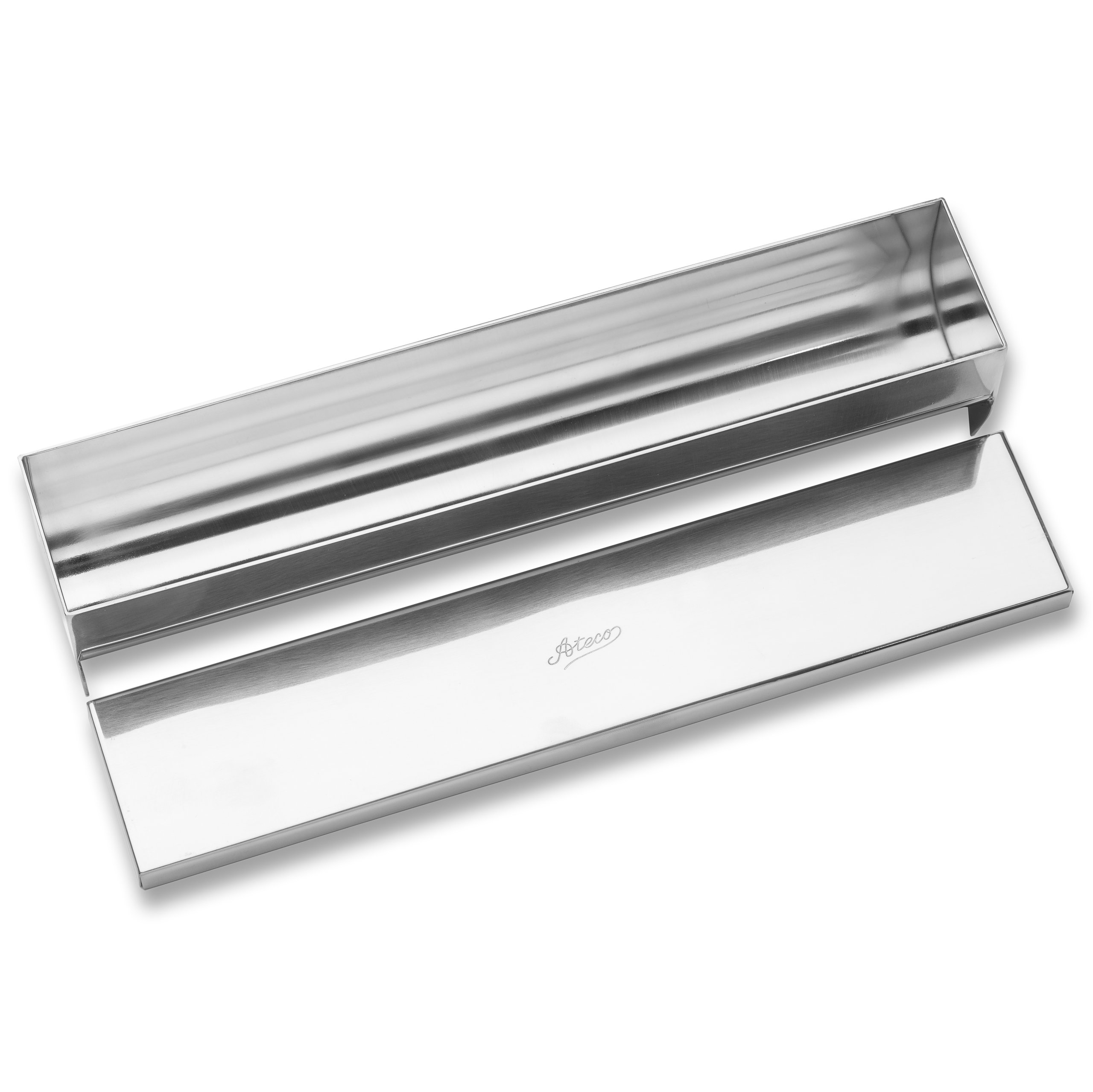 Ateco Rectangular Mold with Cover and Round Bottom, Stainless Steel by Ateco