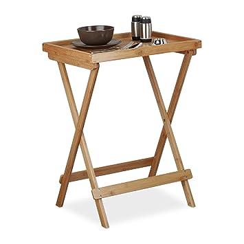 Bambou Table Tablette De Pliable Relaxdays Service Plateau NOXP8n0wZk