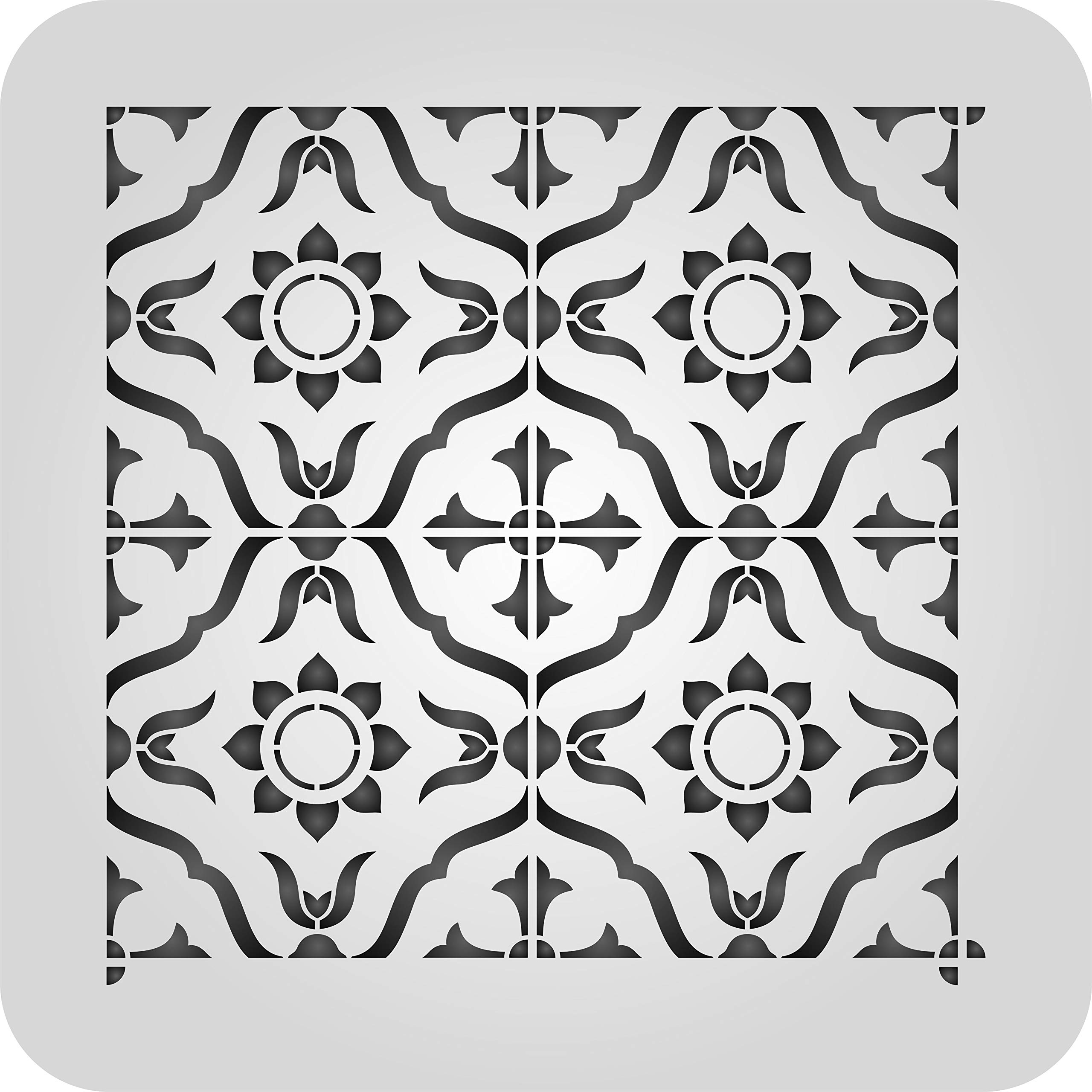 Moroccan Tile Stencil - 12 x 12 inch 4 Tile (L) - Reusable Talavera Mexican Turkish Italian Tile Stencils for Painting - Use on Walls, Floors, Fabrics, Glass, Wood, and More...