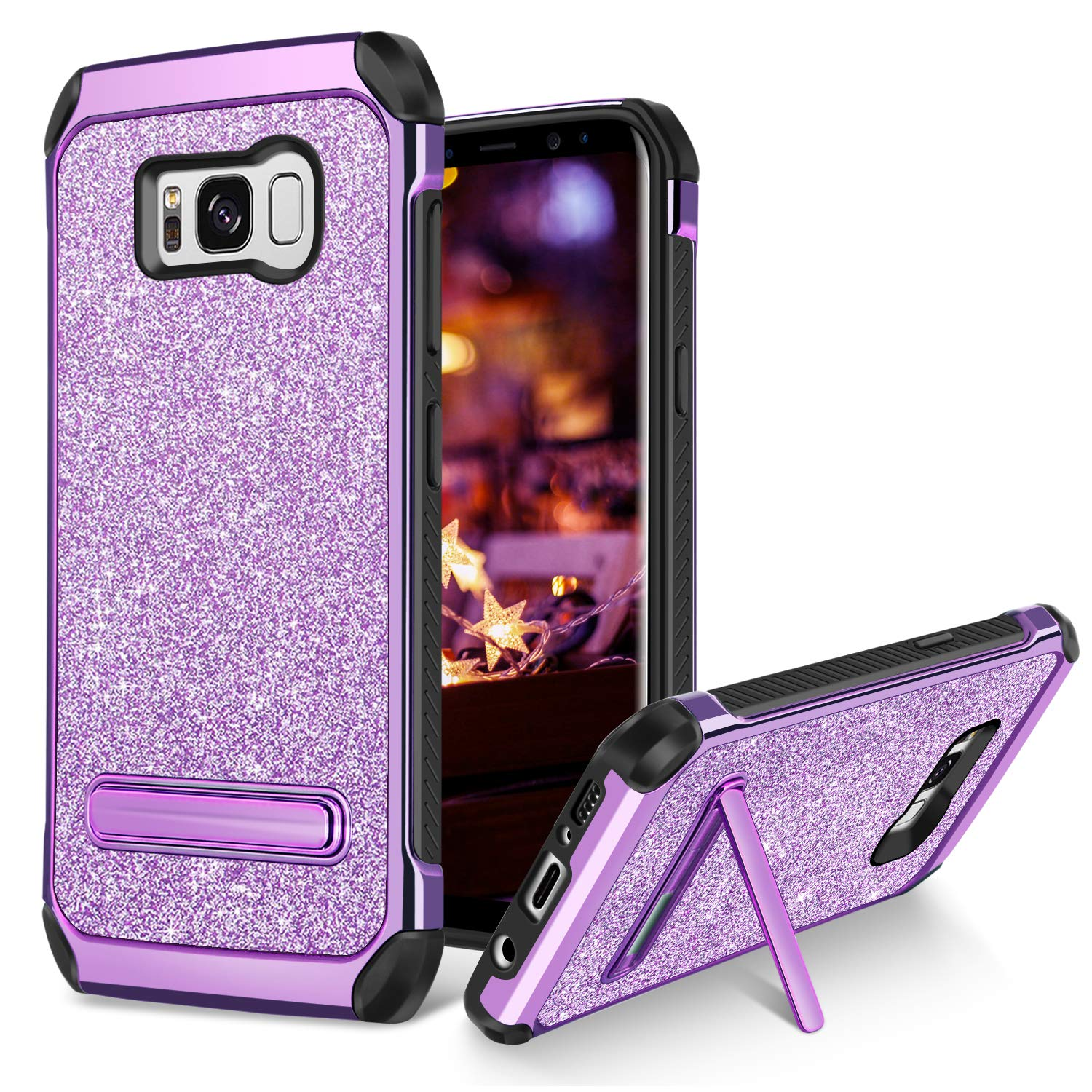 d3371f20f BENTOBEN Case for Galaxy S8 Plus 2 in 1 Kickstand Design Shockproof  Protective Glitter Shiny Girl Women Faux Leather Hard Case Full Body Soft  Bumper Phone ...