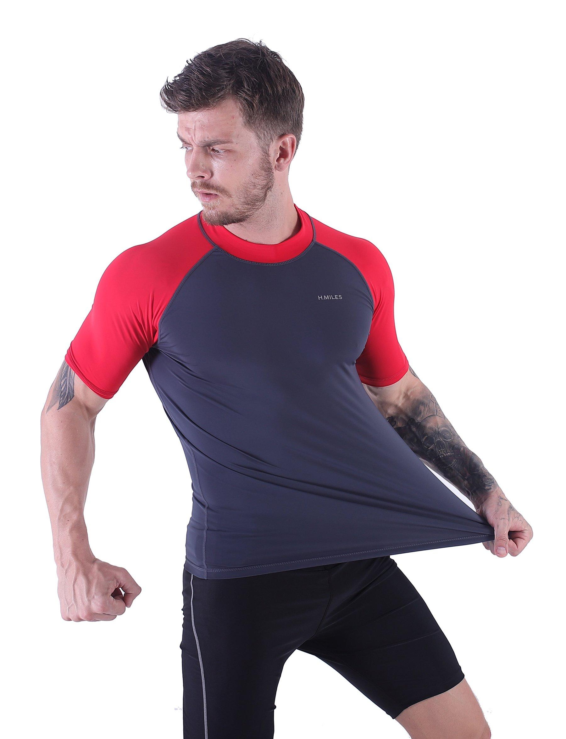 H.MILES Mens UV Protection Rash Guard Swim Shirts Short Sleeve Moisture Wicking Swimming Shirts Workout Swimwear Tops Asphalt/Fuchsin-3XL by H.MILES