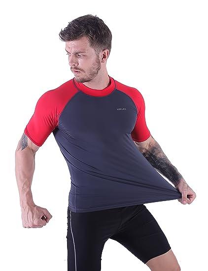 1755e35e7f4a64 Amazon.com  H.MILES Men s Rash Guard UPF 50+ Tops Swim Shirt Short Sleeve  Surfing T-Shirt  Sports   Outdoors
