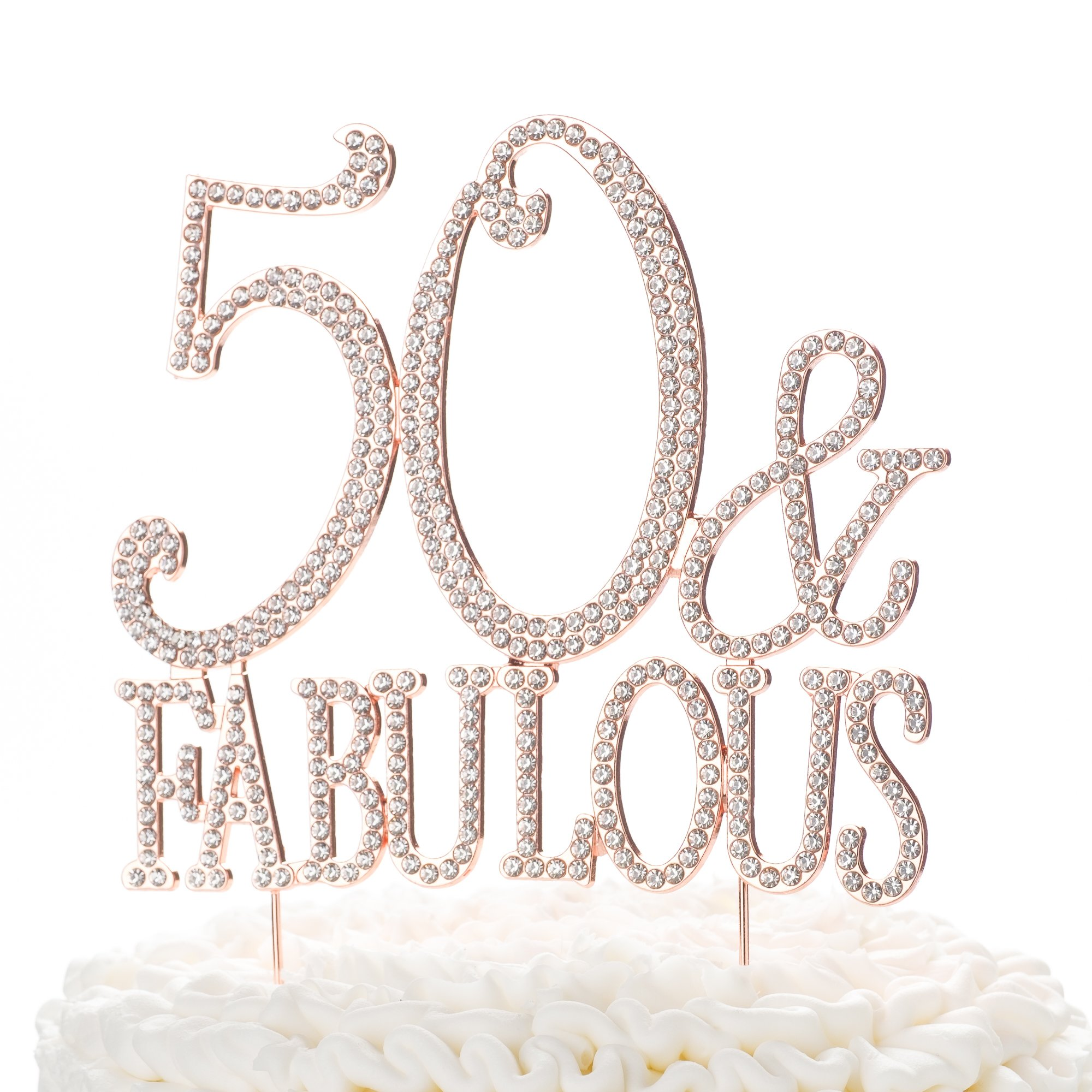 Amazon Ella Celebration 50 Fabulous Cake Topper For 50th Birthday Party Rose Gold Decoration Supplies Kitchen Dining