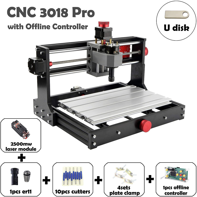 300x180x45 Mostics CNC 3018 Pro with 2.5W Laser Module CNC Laser Engraver PCB PVC Carving Milling Engraving CNC Wood Router CNC Laser Engraving Machine GRBL XYZ CNC 3018 PRO, with 2.5w Laser Module