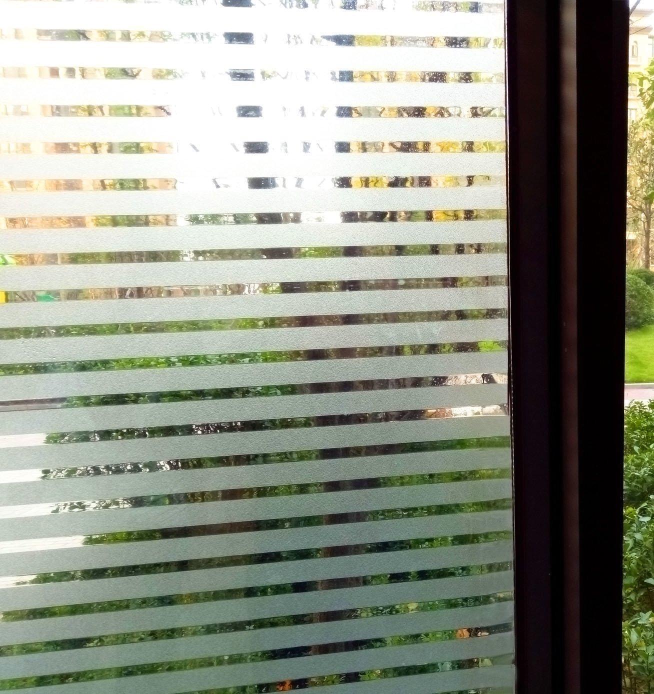 Concus-T Static Cling nessun Adesivo Vinile Premio Decorative Frosted Stripes Privacy Window Film 90x300cm