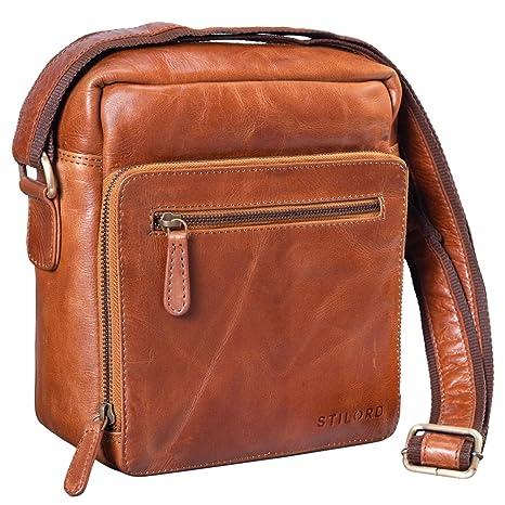 acc486dd15 STILORD 'Nathan' Borsello da Uomo a tracolla in pelle Piccola borsa  messenger in Cuoio