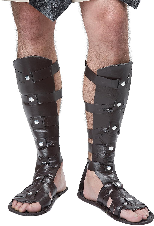 Men/'s Roman Spartan Gladiator Halloween Costume Calf High Sandals Shoes