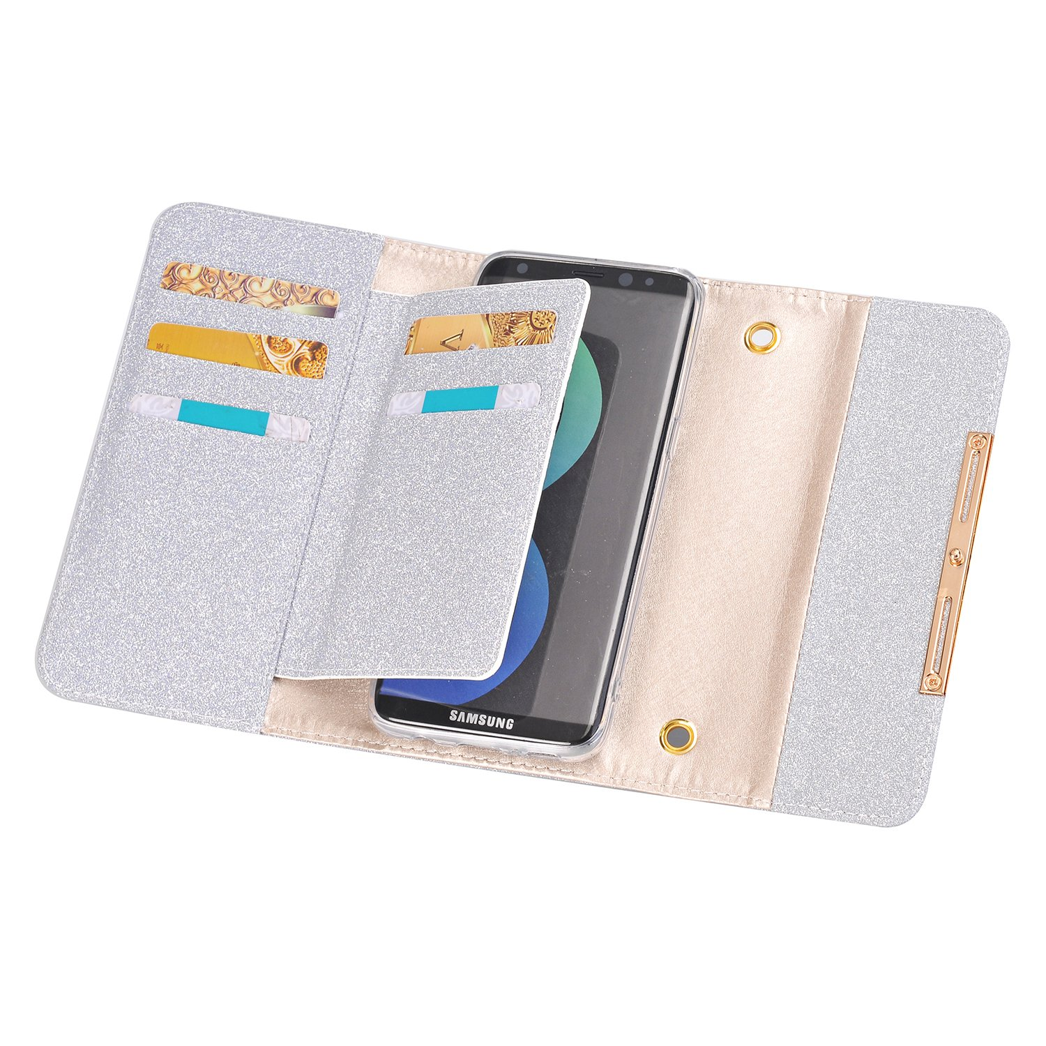 Galaxy S8 Wallet Phone Case,Women Fashion Bling Shiny PU Leather Flip Lady Multi Envelope Wristlet HandBag Clutch Wallet Case with Credit Card Holder for Galaxy S8(Grey)
