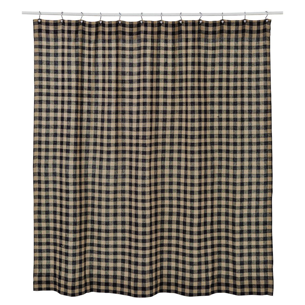 Black And Blue Shower Curtain Part - 25: Amazon.com: VHC Brands Burlap Black Check Shower Curtain 72x72: Home U0026  Kitchen