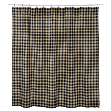 VHC Brands Burlap Black Check Shower Curtain 72x72