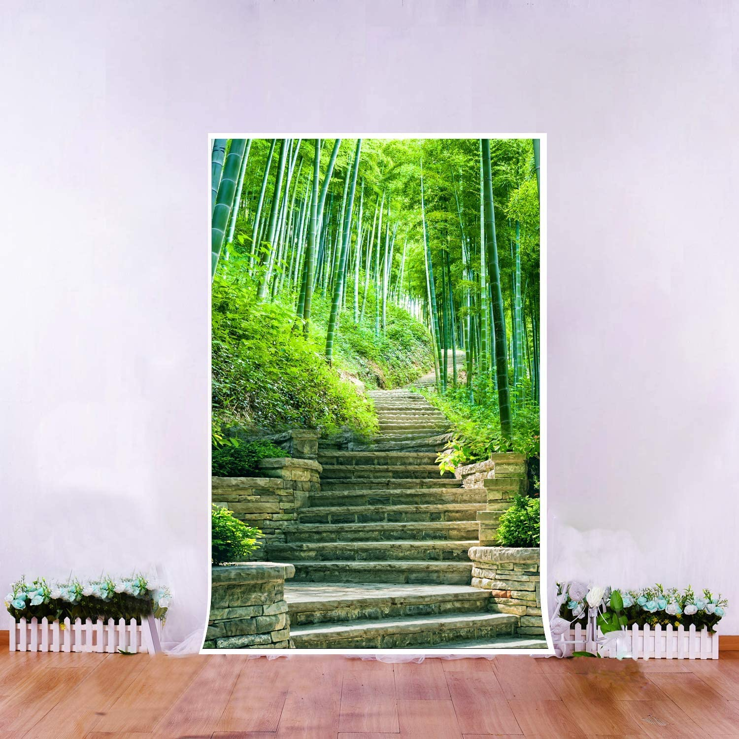 8x10ft Background Green Bamboo Forest Photography Backdrop Outdoor Scene Photo Props LLFU136
