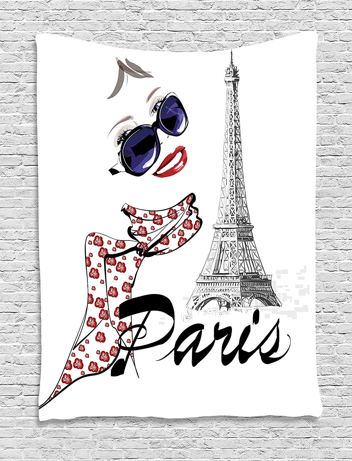 asddcdfdd Paris Tapestry, Sketchy Image of a Woman Smiling with Scarf and Landmark Eiffel Tower, Wall Hanging for Bedroom Living Room Dorm, 60 W x 80 L Inches, Dark Blue Black and White