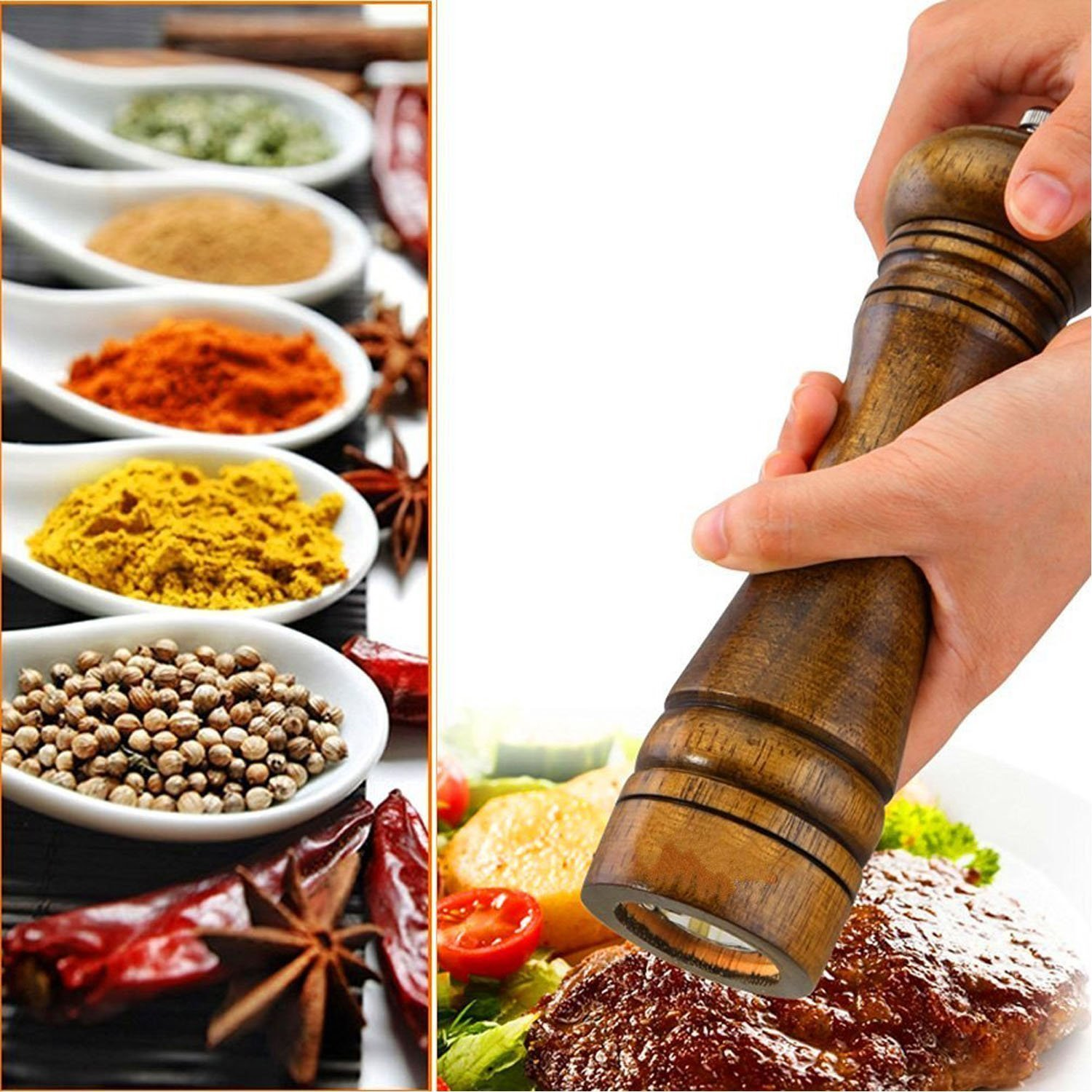 Wood Salt Pepper Grinder - Wooden Spice Mill Includes Precision Mechanism (8 inch) by TUHE (Image #6)